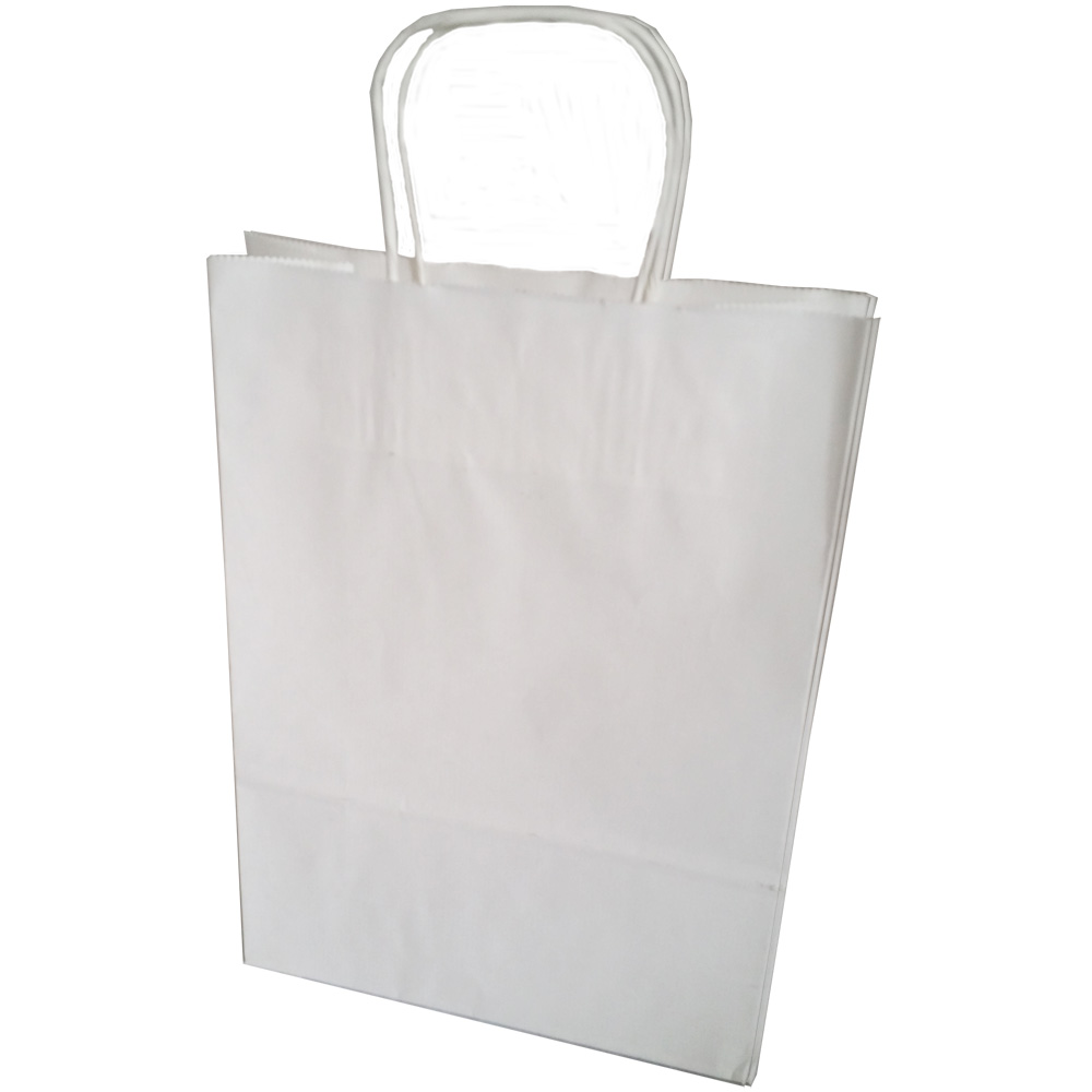 White Twisted Handle Ribbed Kraft Carrier Bag 18 X 22 X